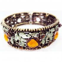 Bracelet manchette marguerite orange