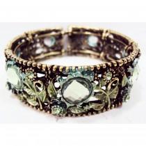 Bracelet manchette marguerite vert