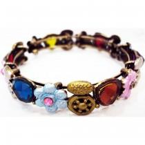 Bracelet manchette fleur multicolore 1 cm