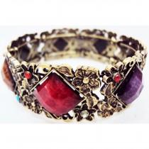 Bracelet pierre losange multicolore
