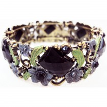 Bracelet cristal rectangle noir
