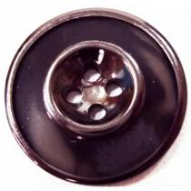 10 Boutons noirs à bordure en 23, 25 mm