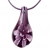 Collier pendentif Murano incrustation OR - Violet