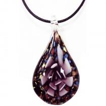 Collier pendentif Murano multicolore - prune