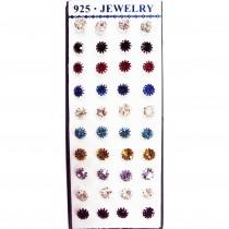 20 paires de boucles d'oreilles mixtes ARGENT 925