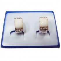 Boucles d'oreilles motif rectangle plaqué argent - Blanc