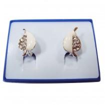 Boucles d'oreilles motif feuille plaqué argent -  Blanc