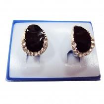Boucles d'oreilles motif goutte plaqué argent -  Noir