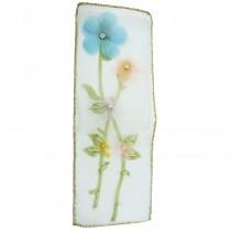Appliqué à coudre rectangle à fleurs