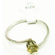 Bague alliance acier INOX cristal - Jaune anis