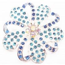Broche fleur en cristal AB - Bleu