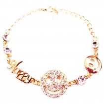 Bracelet plaqué or smiley cristal HAPPY