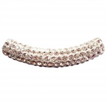 Perle tube shamballa 4,5 cm - Blanc