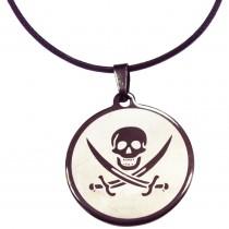 Pendentif rond pirate INOX - Noir