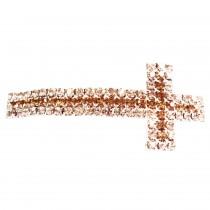 Perle tube croix bicolore - Doré