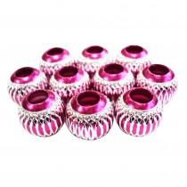 10 perles en aluminium - Fushia