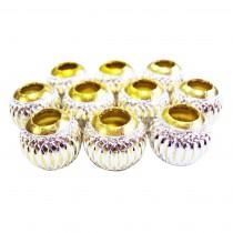 10 perles en aluminium - Jaune