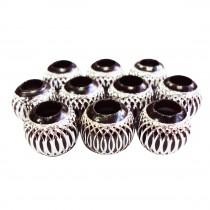 10 perles en aluminium - Noir
