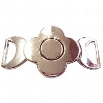 Boucle fleur en métal argenté