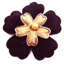 5 Appliqués fleur en velours - Noir