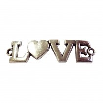 5 perles plaque LOVE en zinc