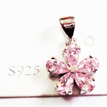Pendentif S925 fleur rose
