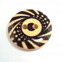 10 Boutons bois motif fantaisie en 18 mm