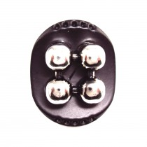 Bouton ovale trompe-oeil en 32 mm -Noir/argent