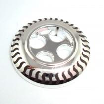 Bouton à motif en 25 mm - Argent/gris