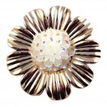 Gros bouton à fleur en 45 mm- Or
