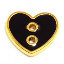 6 Boutons coeur 12, 15 mm- Noir/or