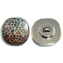 Bouton carré léopard en 18, 25 mm -  Noir