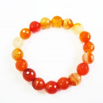 Bracelet agate à facette 12 mm - orange