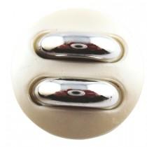 Bouton irisé en 30, 38 mm - Blanc