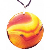 Collier Agate orange diamètre 5 cm