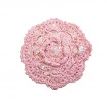 Appliqué crochet fleur - rose