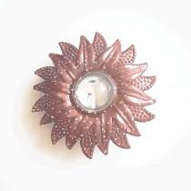 Gros bouton fleuri pailleté en 40 mm - Marron foncé