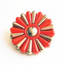 Bouton fleuri en 45 mm - Or/rouge