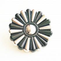 Bouton fleuri en 25, 35, 45 mm - Argent/noir