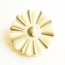 Bouton fleuri en 25, 35, 45 mm - Or/écru