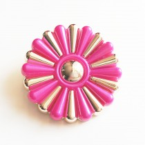 Bouton fleuri en 25, 35, 45 mm - Or/fuchsia