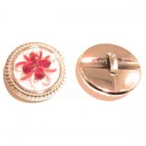 Bouton doré à fleur rouge en 30 mm
